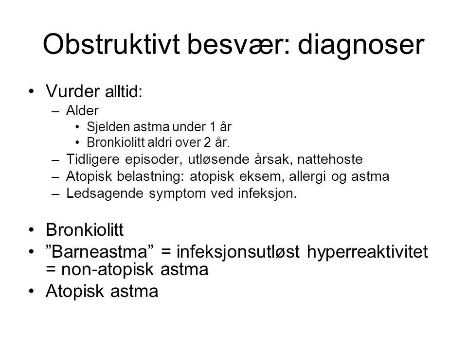 Obstruktivt besvær: diagnoser