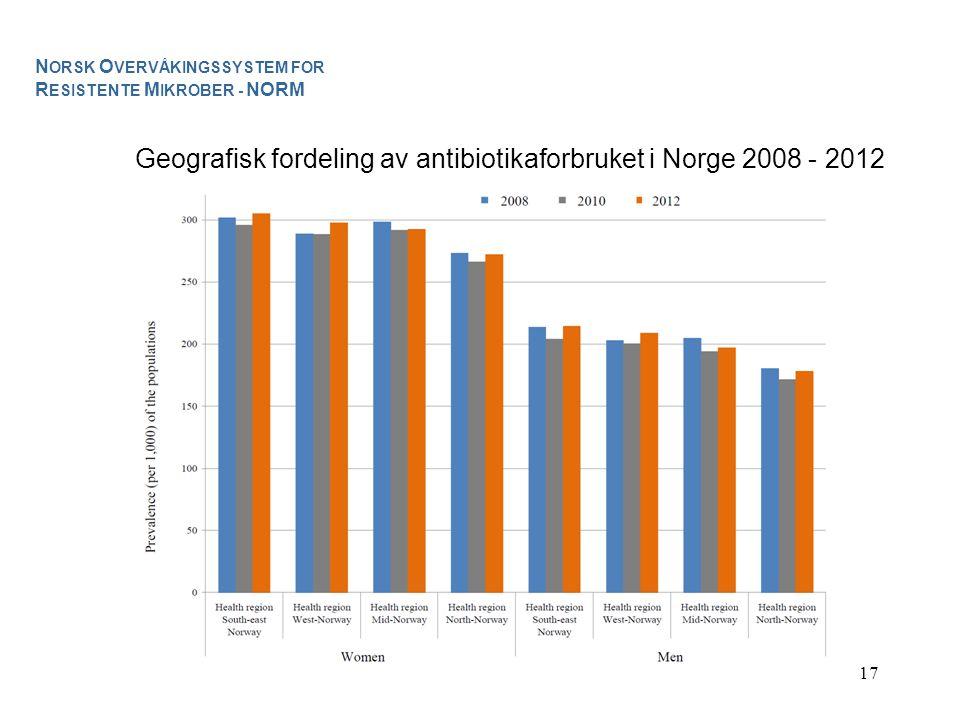 Geografisk fordeling av antibiotikaforbruket i Norge 2008 - 2012