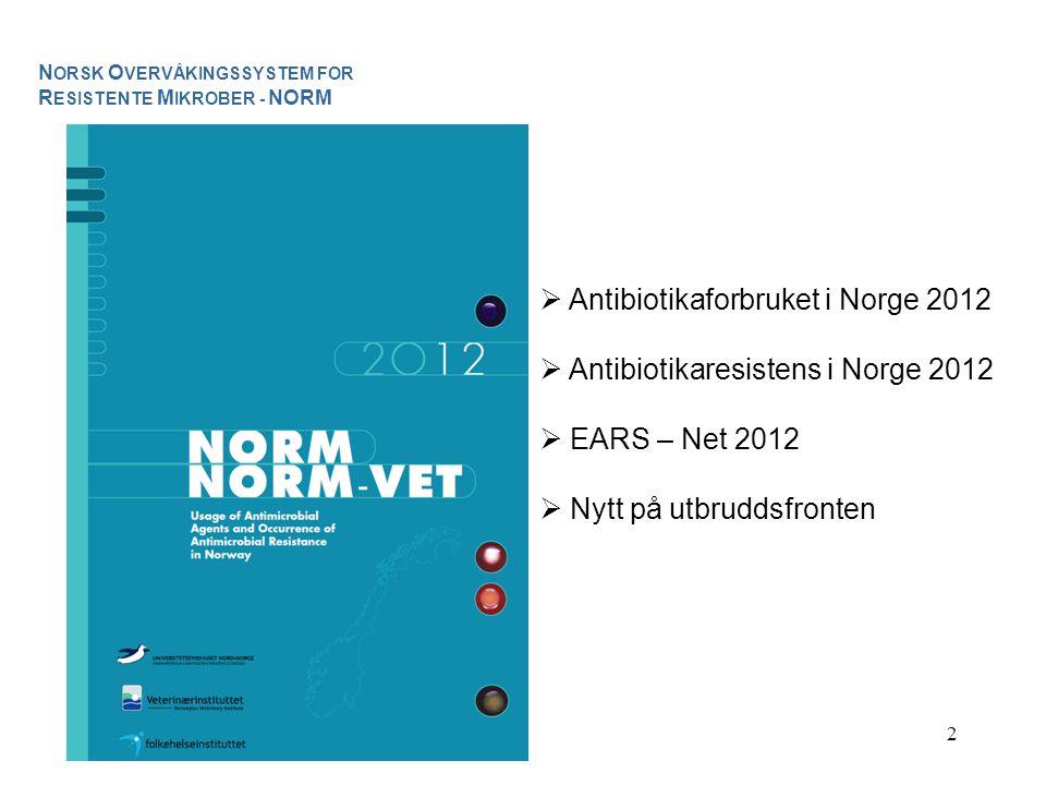 Antibiotikaforbruket i Norge 2012 Antibiotikaresistens i Norge 2012