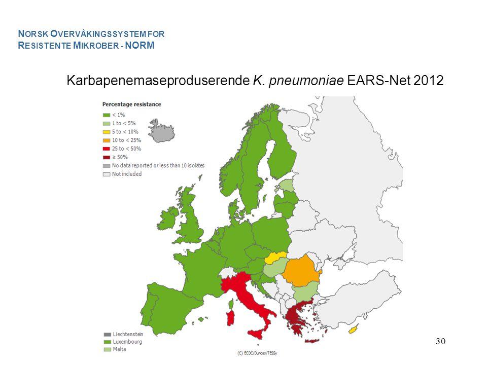 Karbapenemaseproduserende K. pneumoniae EARS-Net 2012