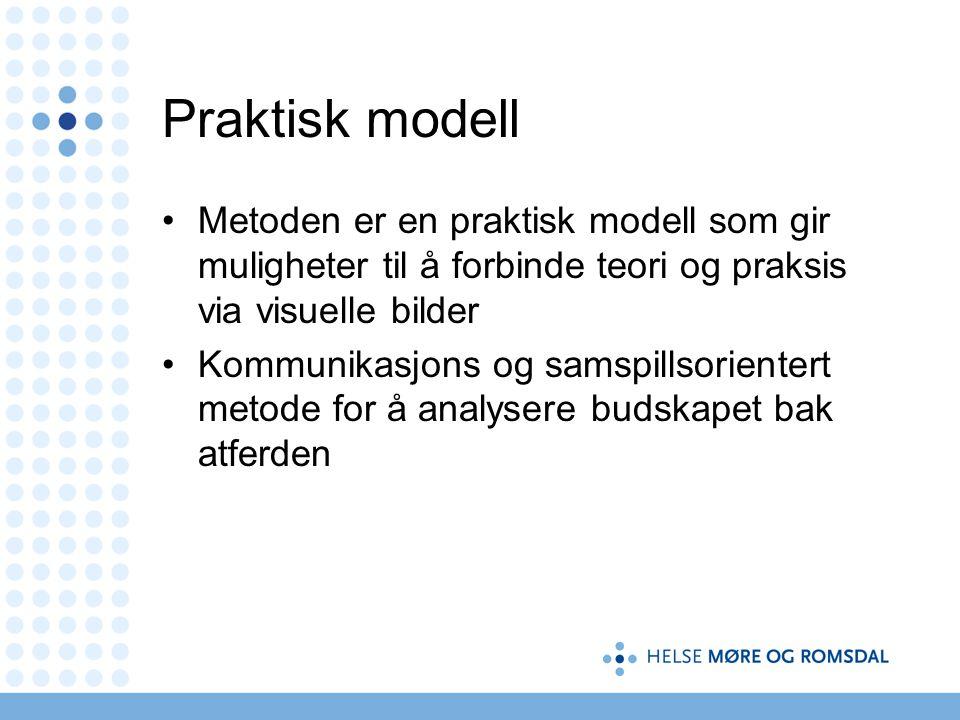 Praktisk modell Metoden er en praktisk modell som gir muligheter til å forbinde teori og praksis via visuelle bilder.