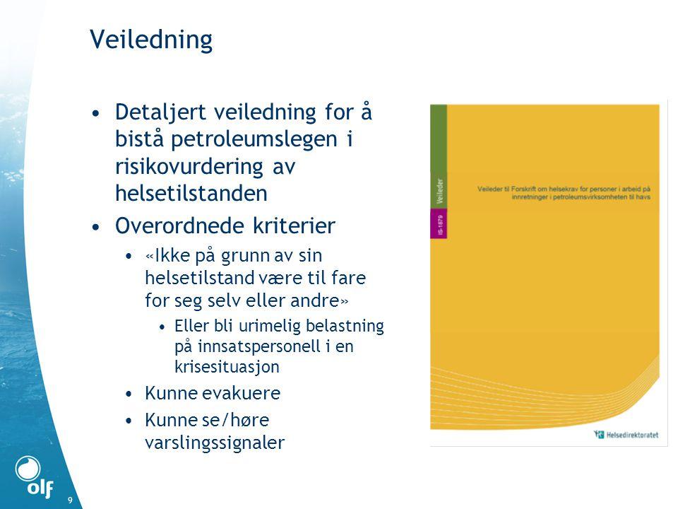 Veiledning Detaljert veiledning for å bistå petroleumslegen i risikovurdering av helsetilstanden. Overordnede kriterier.