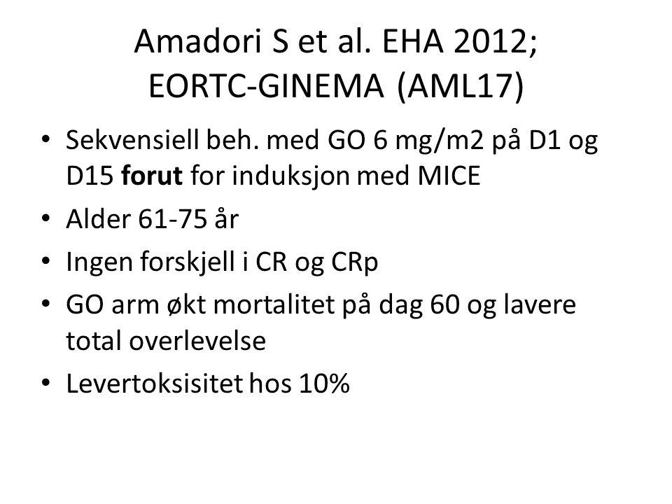 Amadori S et al. EHA 2012; EORTC-GINEMA (AML17)