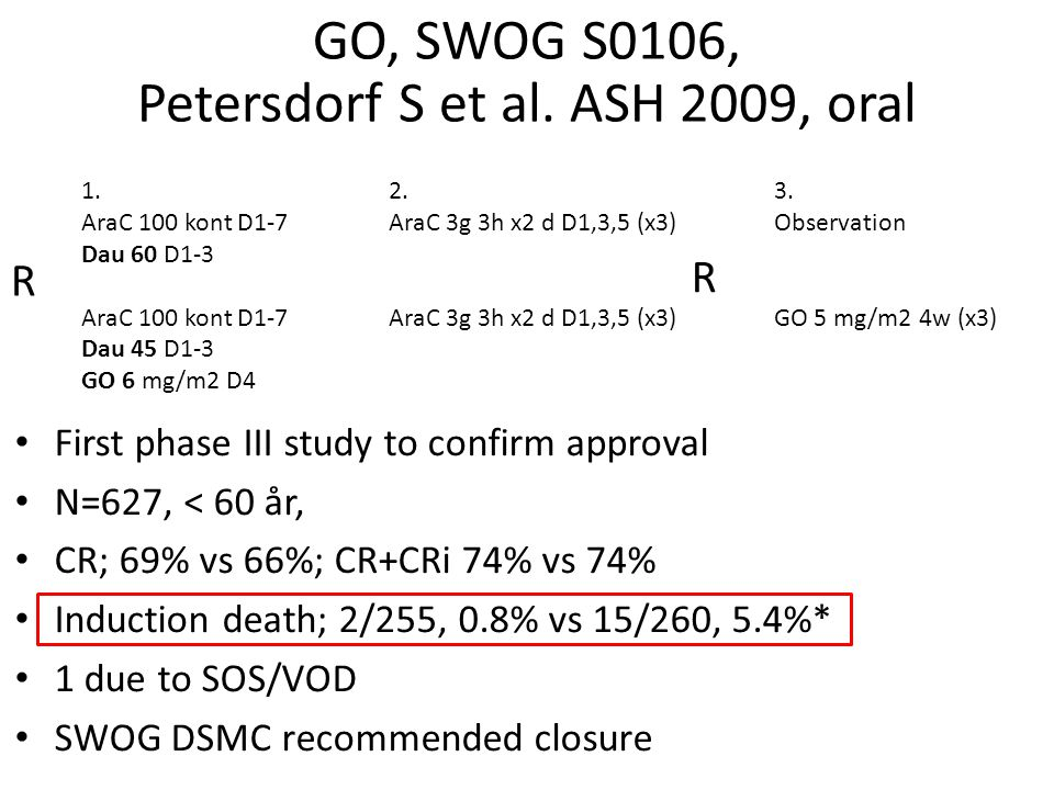 GO, SWOG S0106, Petersdorf S et al. ASH 2009, oral
