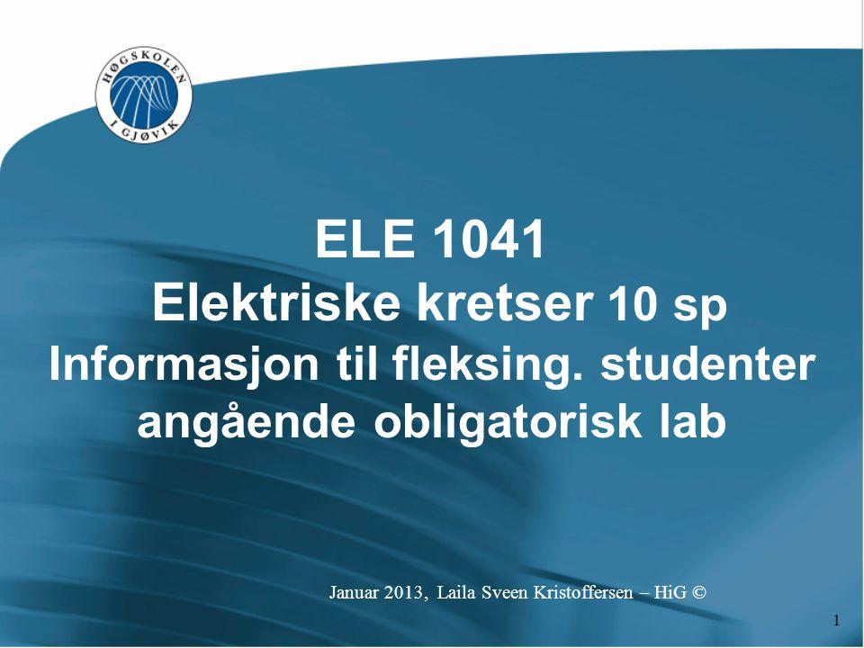 Informasjon til fleksing. studenter angående obligatorisk lab