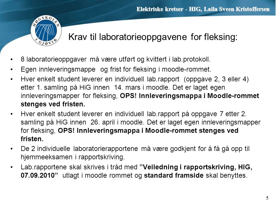 Krav til laboratorieoppgavene for fleksing: