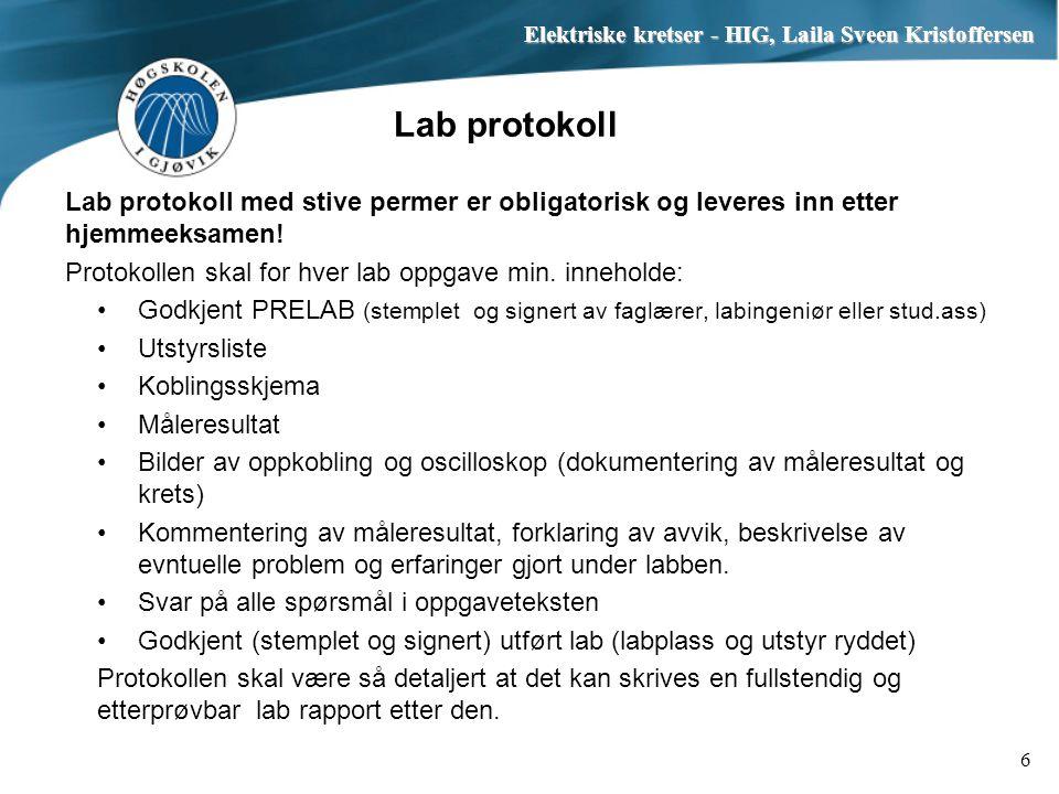 Elektriske kretser - HIG, Laila Sveen Kristoffersen