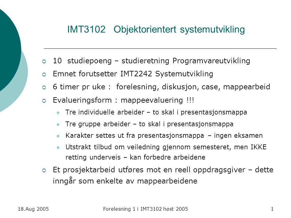 IMT3102 Objektorientert systemutvikling