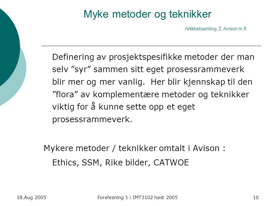 Myke metoder og teknikker Artikkelsamling, 2, Avison m.fl.