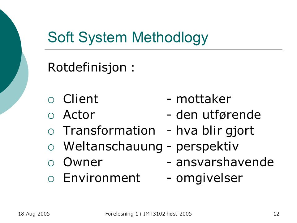Soft System Methodlogy
