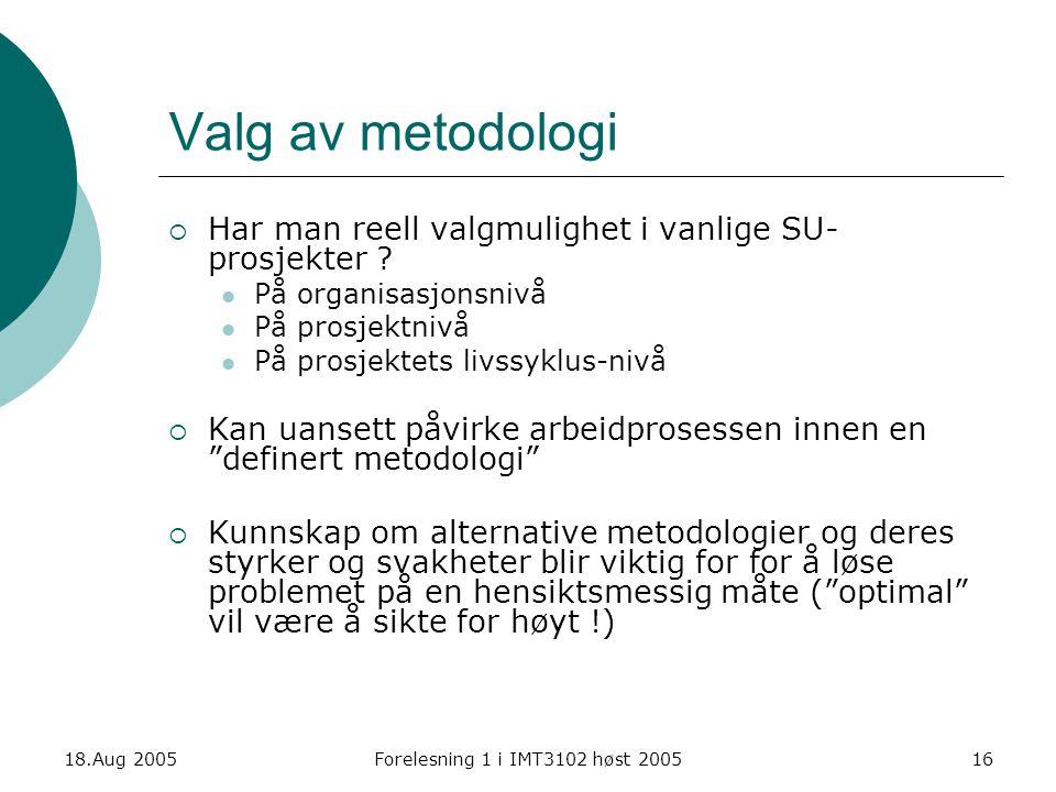 Valg av metodologi Har man reell valgmulighet i vanlige SU-prosjekter På organisasjonsnivå. På prosjektnivå.
