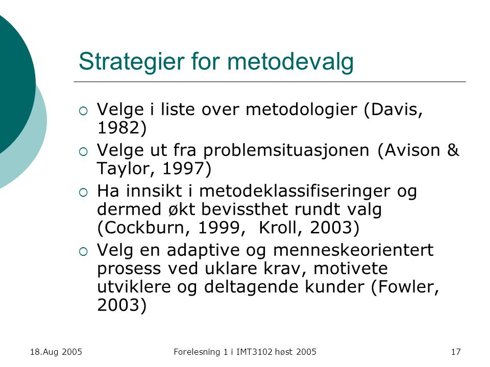 Strategier for metodevalg