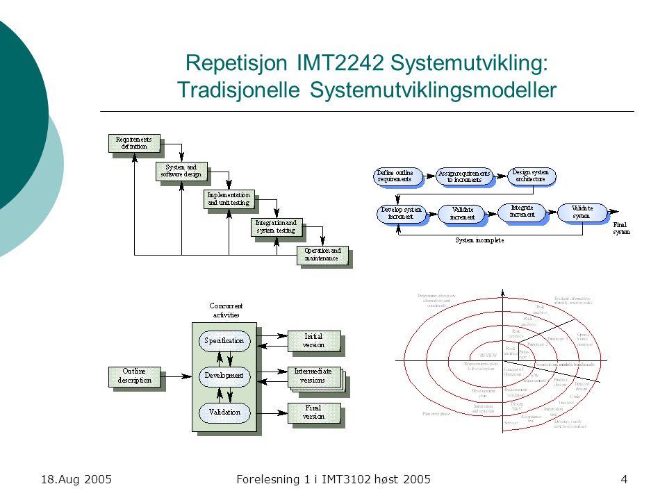 Repetisjon IMT2242 Systemutvikling: Tradisjonelle Systemutviklingsmodeller