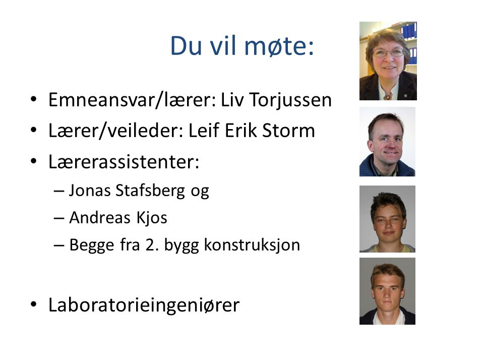 Du vil møte: Emneansvar/lærer: Liv Torjussen
