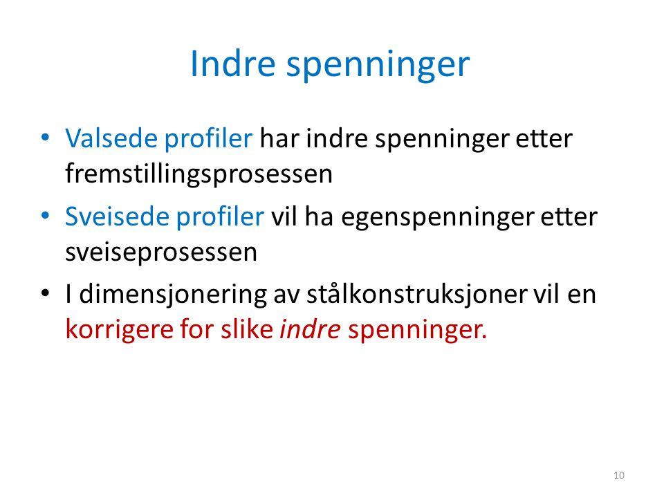 Indre spenninger Valsede profiler har indre spenninger etter fremstillingsprosessen. Sveisede profiler vil ha egenspenninger etter sveiseprosessen.