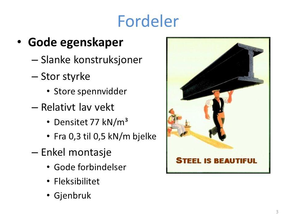 Fordeler Gode egenskaper Slanke konstruksjoner Stor styrke