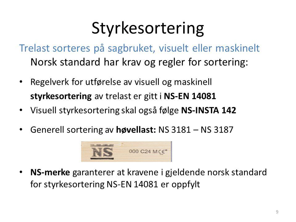 Styrkesortering Trelast sorteres på sagbruket, visuelt eller maskinelt Norsk standard har krav og regler for sortering: