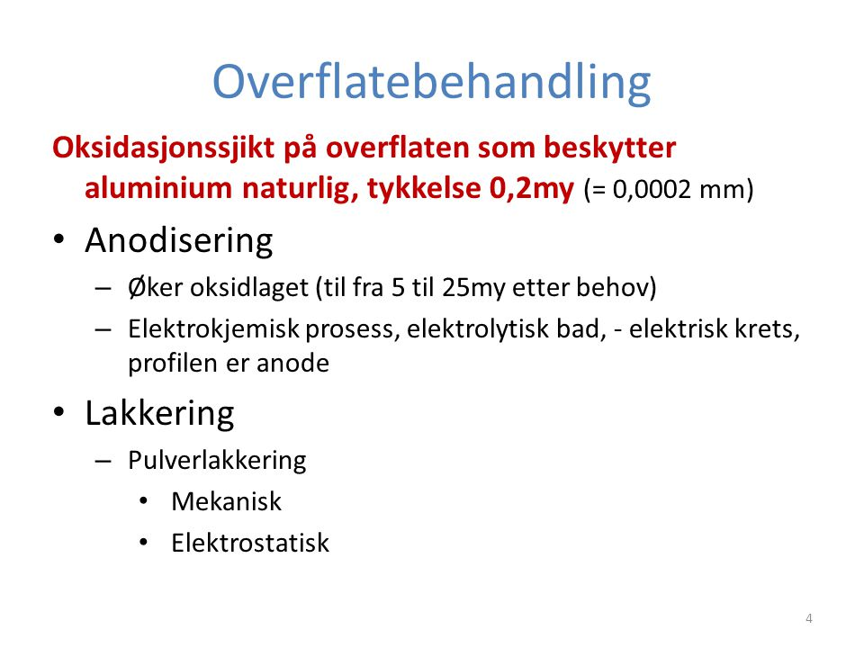 Overflatebehandling Anodisering Lakkering