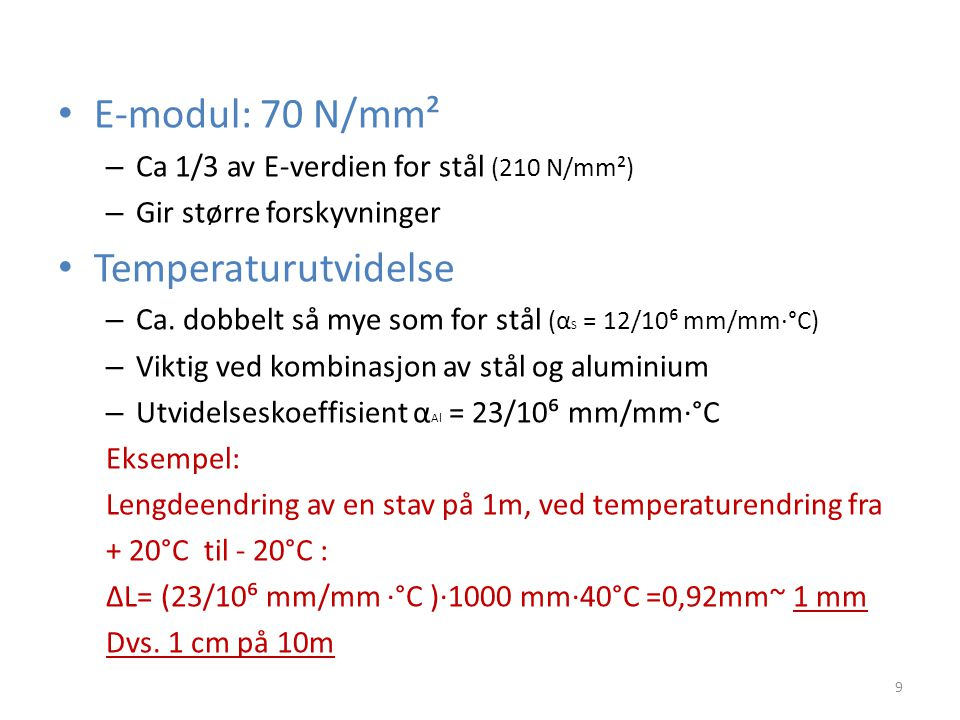 E-modul: 70 N/mm² Temperaturutvidelse
