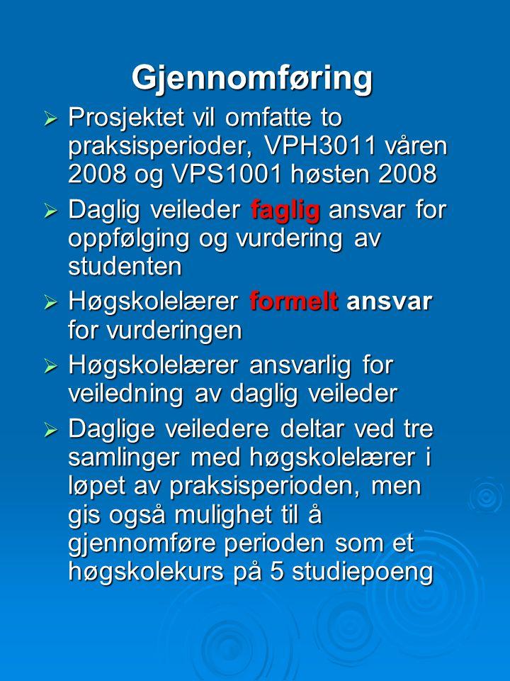 Gjennomføring Prosjektet vil omfatte to praksisperioder, VPH3011 våren 2008 og VPS1001 høsten 2008.
