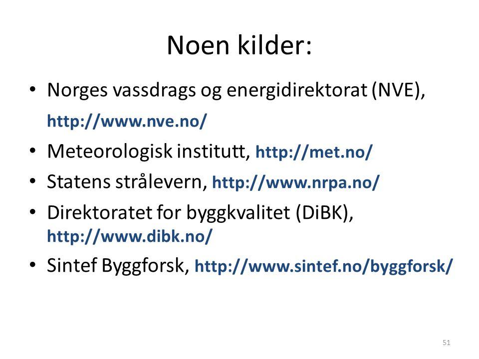 Noen kilder: Norges vassdrags og energidirektorat (NVE),
