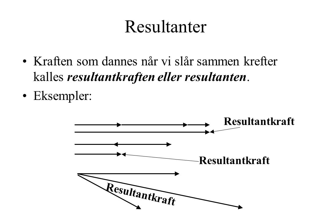 Resultanter Kraften som dannes når vi slår sammen krefter kalles resultantkraften eller resultanten.