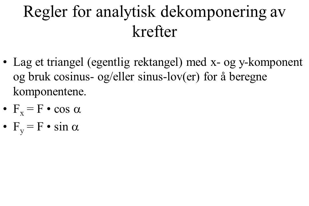 Regler for analytisk dekomponering av krefter