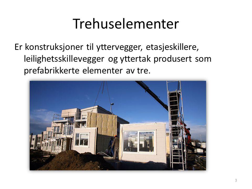 Trehuselementer Er konstruksjoner til yttervegger, etasjeskillere, leilighetsskillevegger og yttertak produsert som prefabrikkerte elementer av tre.