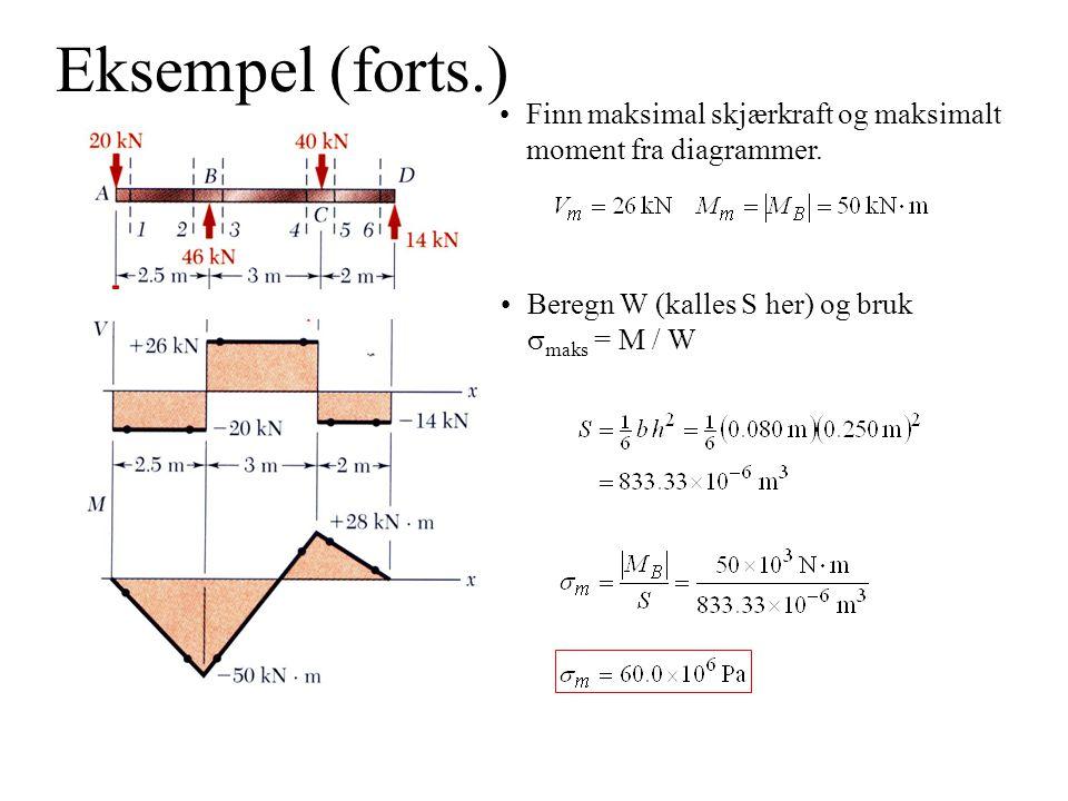 Eksempel (forts.) Finn maksimal skjærkraft og maksimalt moment fra diagrammer.