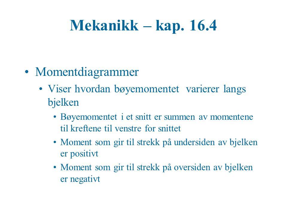 Mekanikk – kap. 16.4 Momentdiagrammer