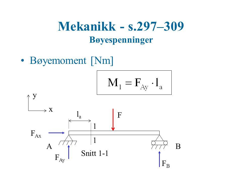 Mekanikk - s.297–309 Bøyespenninger