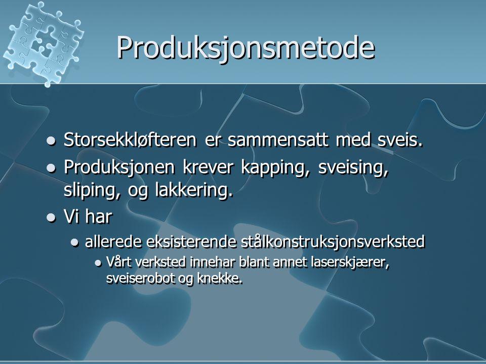 Produksjonsmetode Storsekkløfteren er sammensatt med sveis.
