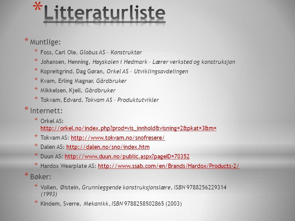 Litteraturliste Muntlige: Internett: Bøker: