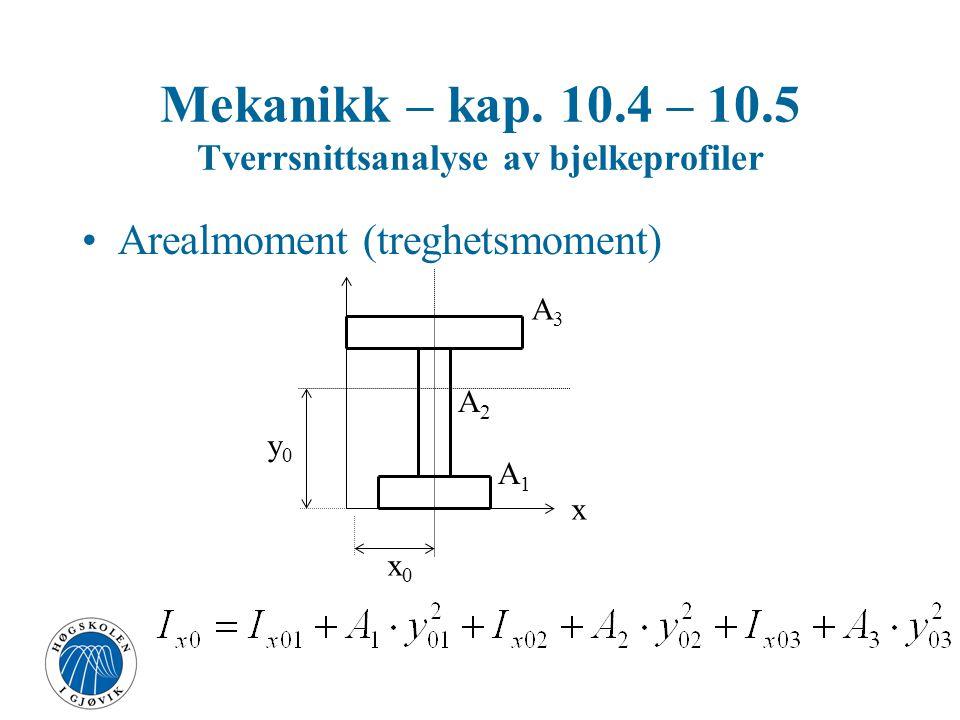 Mekanikk – kap. 10.4 – 10.5 Tverrsnittsanalyse av bjelkeprofiler
