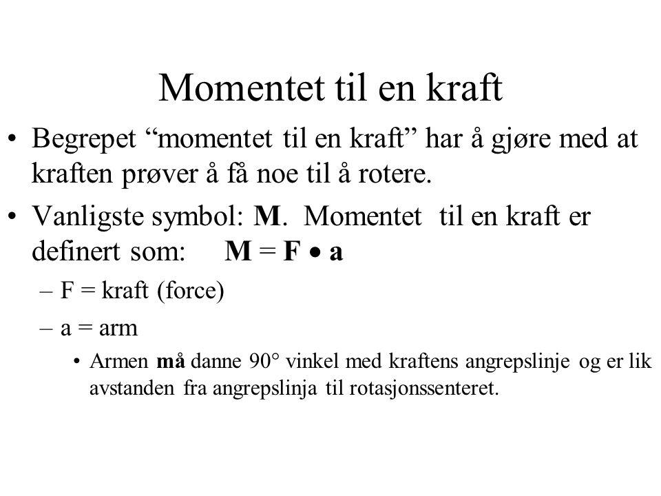 Momentet til en kraft Begrepet momentet til en kraft har å gjøre med at kraften prøver å få noe til å rotere.