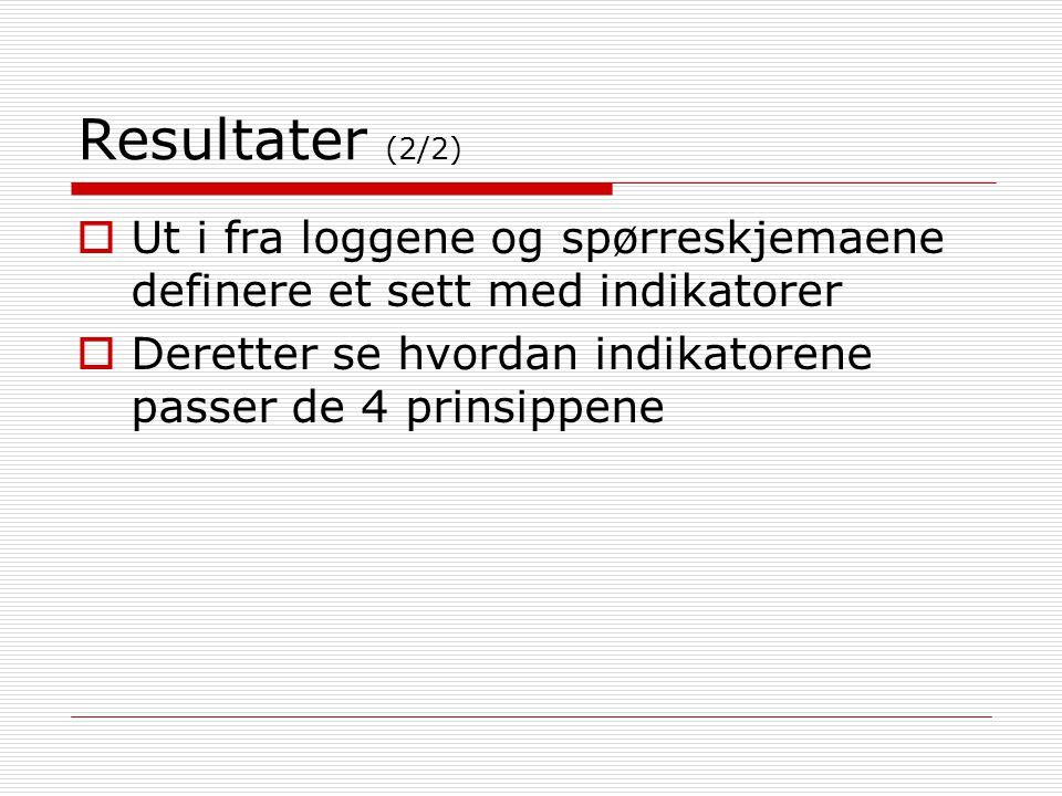 Resultater (2/2) Ut i fra loggene og spørreskjemaene definere et sett med indikatorer.
