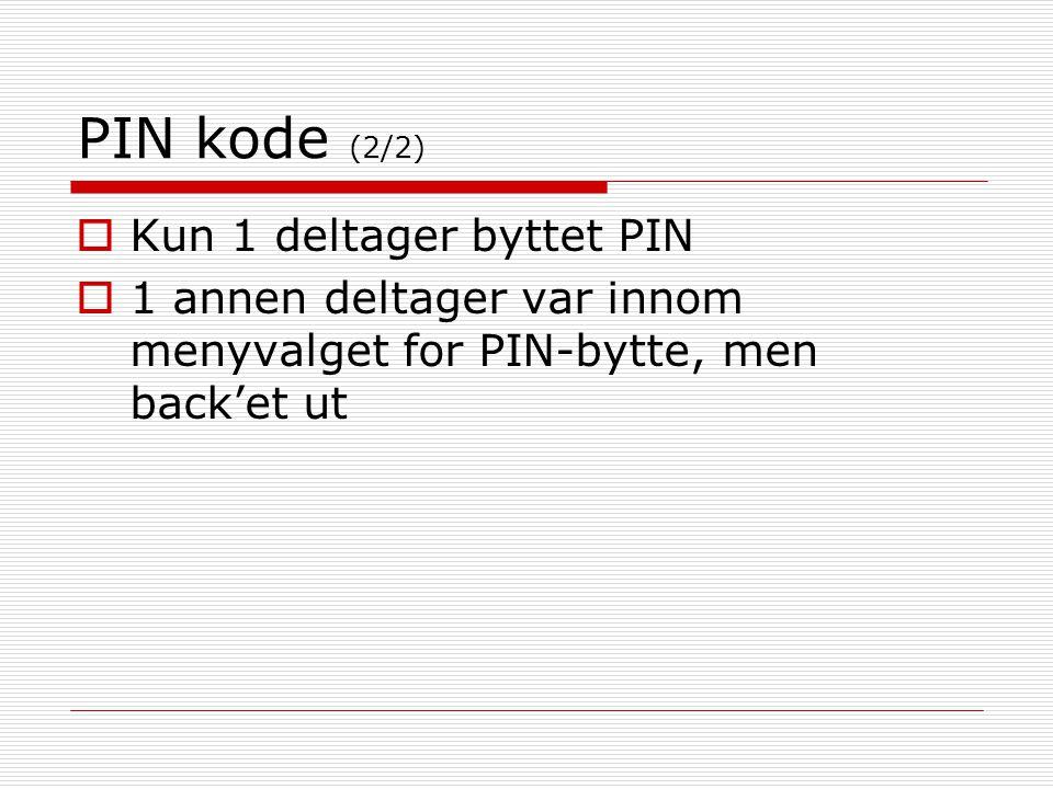 PIN kode (2/2) Kun 1 deltager byttet PIN