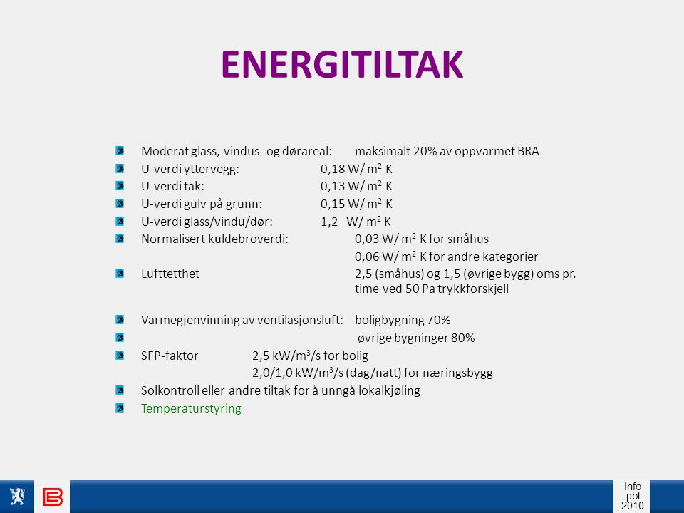 ENERGITILTAK Moderat glass, vindus- og dørareal: maksimalt 20% av oppvarmet BRA. U-verdi yttervegg: 0,18 W/ m2 K.