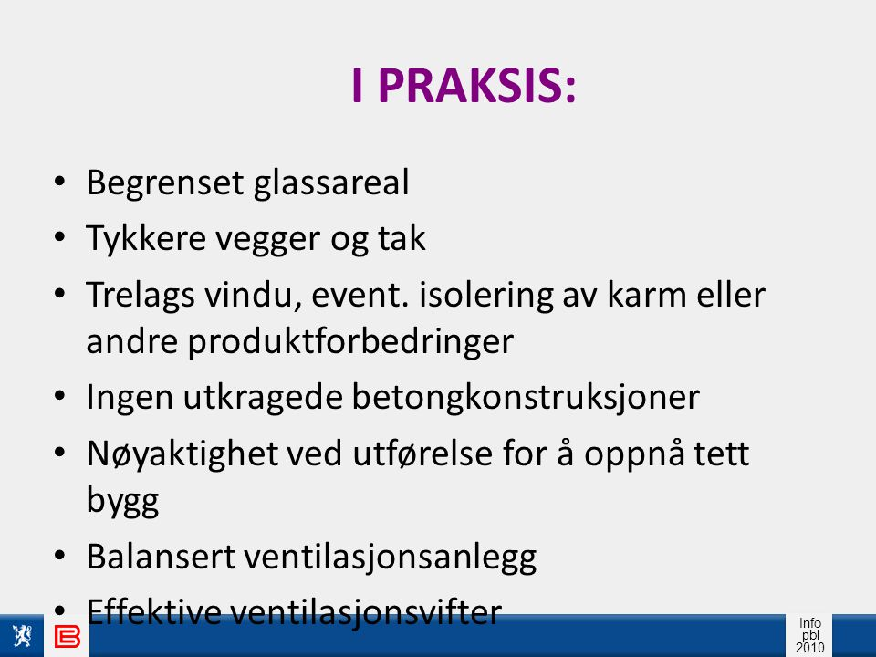 I PRAKSIS: Begrenset glassareal Tykkere vegger og tak