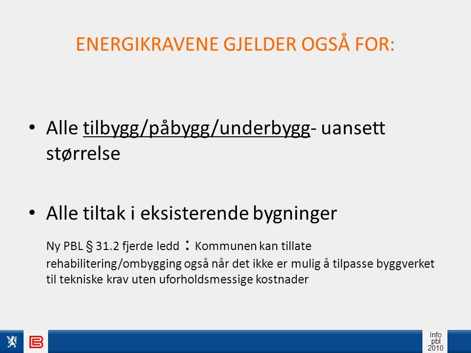 ENERGIKRAVENE GJELDER OGSÅ FOR: