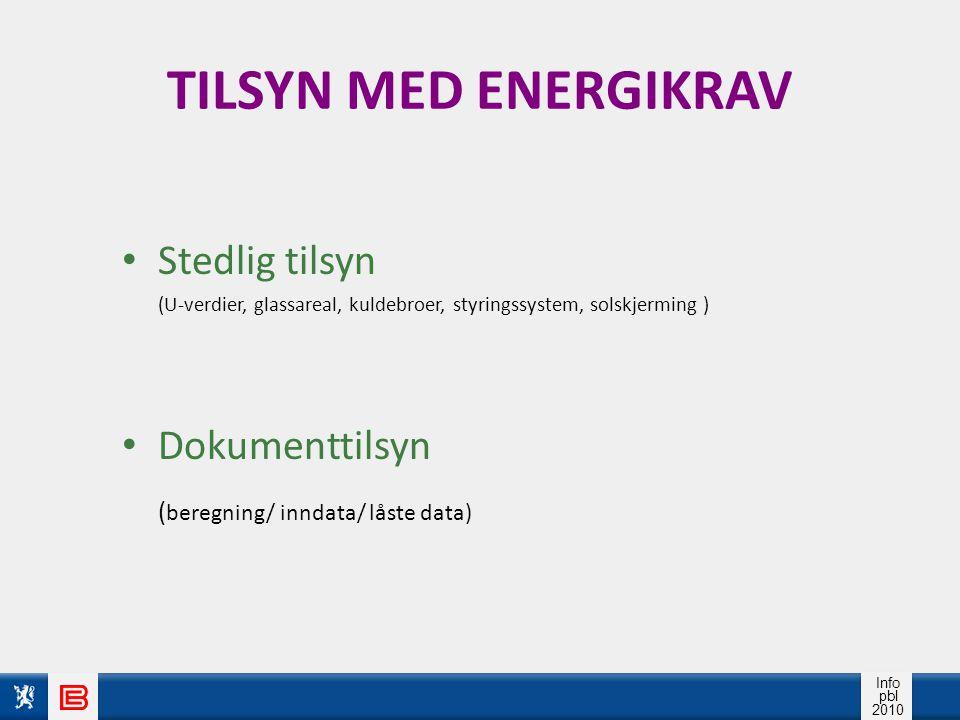 TILSYN MED ENERGIKRAV Stedlig tilsyn Dokumenttilsyn