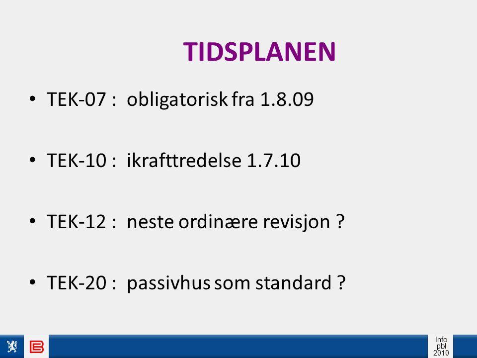 TIDSPLANEN TEK-07 : obligatorisk fra 1.8.09