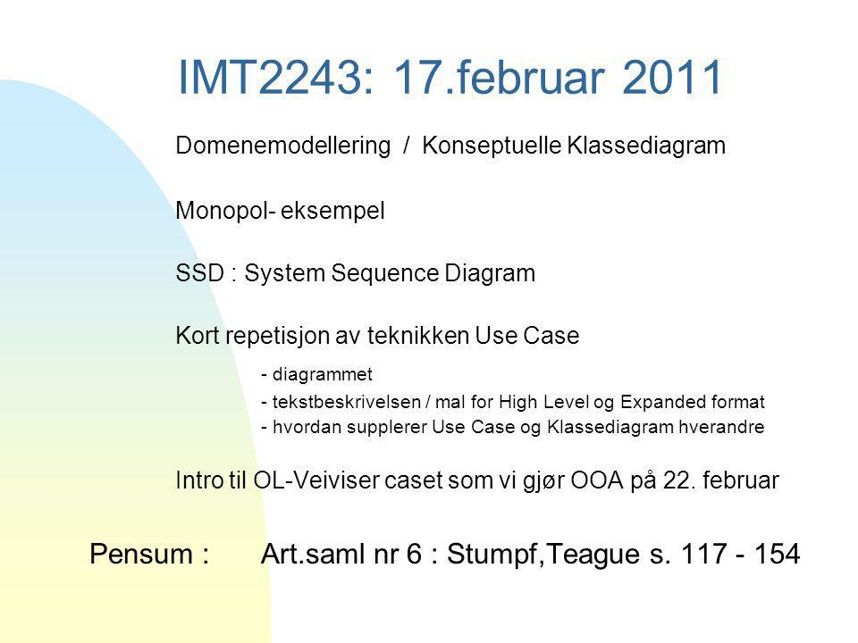 4/4/2017 IMT2243: 17.februar 2011. Domenemodellering / Konseptuelle Klassediagram. Monopol- eksempel.