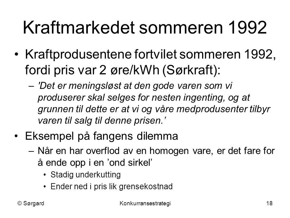 Kraftmarkedet sommeren 1992