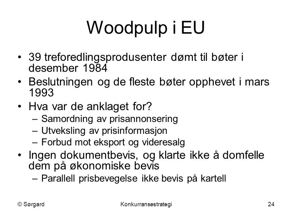 Woodpulp i EU 39 treforedlingsprodusenter dømt til bøter i desember 1984. Beslutningen og de fleste bøter opphevet i mars 1993.