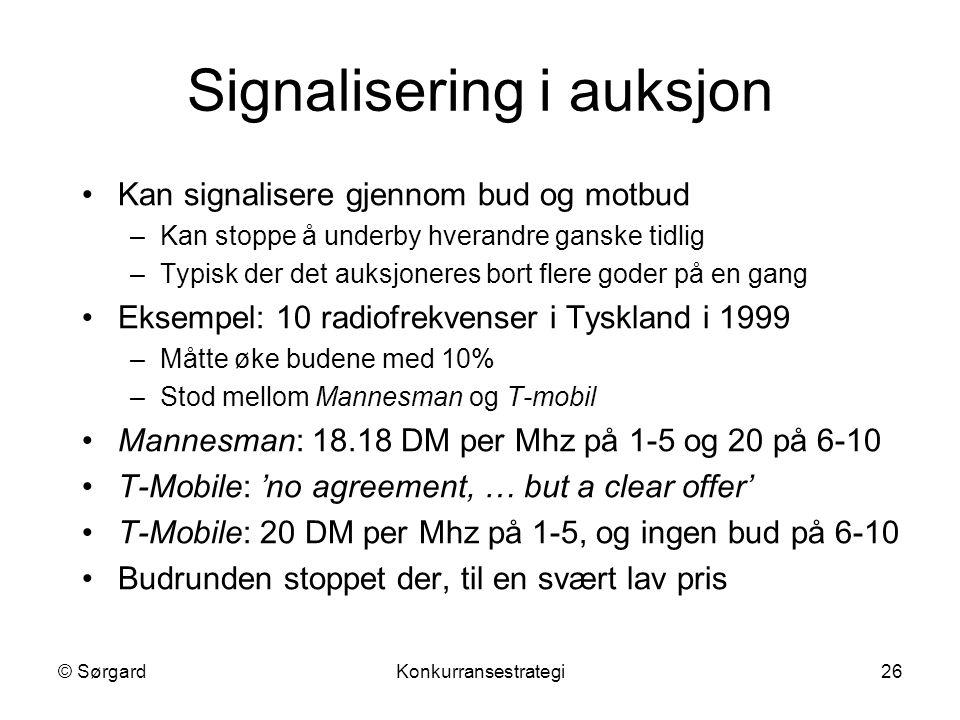 Signalisering i auksjon