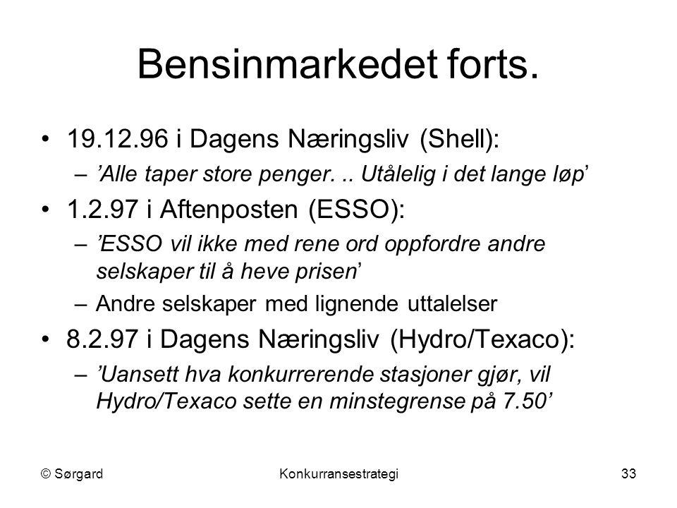 Bensinmarkedet forts. 19.12.96 i Dagens Næringsliv (Shell):