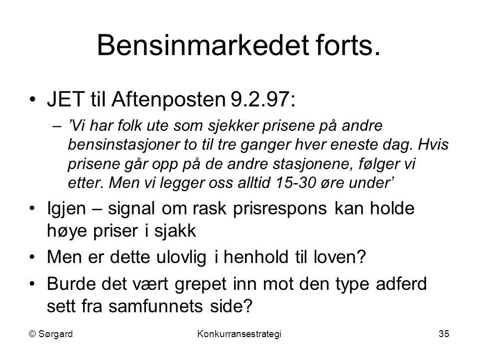 Bensinmarkedet forts. JET til Aftenposten 9.2.97: