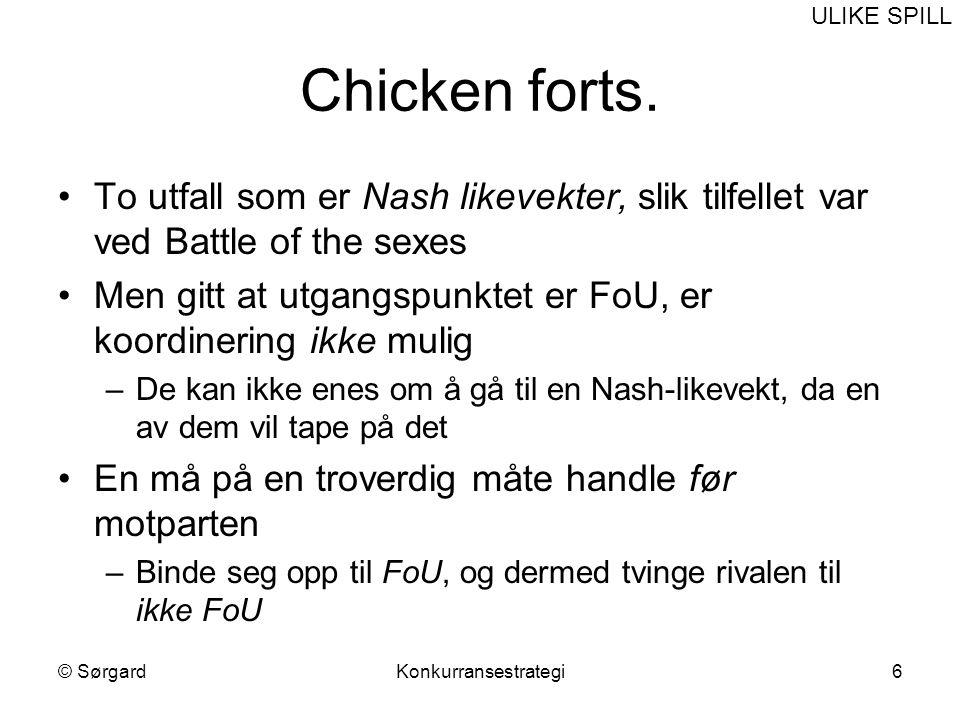 ULIKE SPILL Chicken forts. To utfall som er Nash likevekter, slik tilfellet var ved Battle of the sexes.