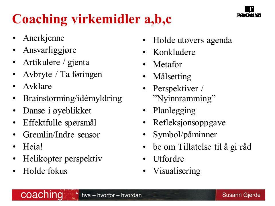 Coaching virkemidler a,b,c
